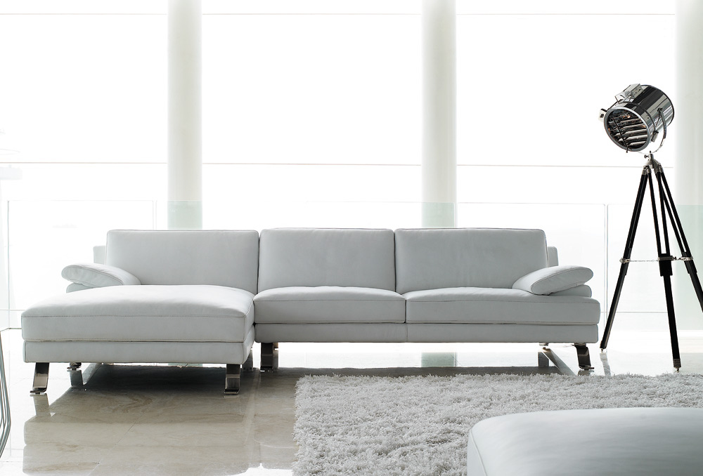 Sofas Giano White Leather Chaise Lounge Sofa Sofa World