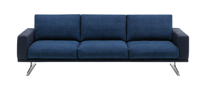 Sofas Carlton Blue Fabric Leather Combination 3 Seater