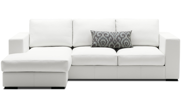 White Cenova designer sofa with lounging unit