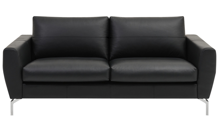 Monaco black leather sofa sydney - BoConcept
