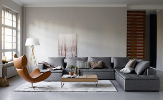 Mezzo- modern leather sofa lounge